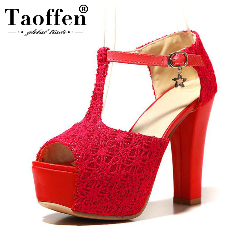 TAOFFEN Brand <font><b>12</b></font> <font><b>Cm</b></font> High Heels Summer <font><b>Sandals</b></font> Women Sexy Lace Platform Party Shoes Woman Wedding Ladies Footwear Size 32-43 image