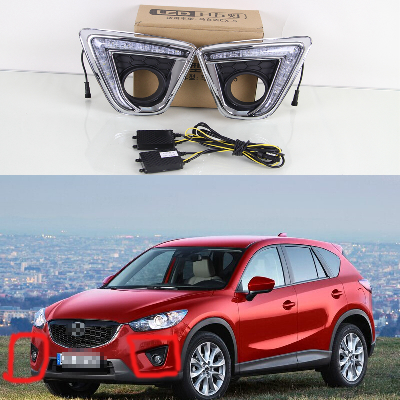 1 Set DRL white and yellow Fog Driving Lamps Daytime Running Lights With Turn Signal Lamps for Mazda CX-5 2013-2015