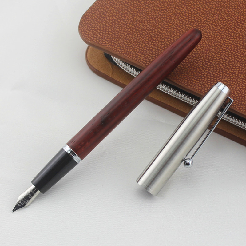 Pretty Jinhao 599-A Medium Nib Fountain Pen Stift Silber Trim Schwarz Hot Sale