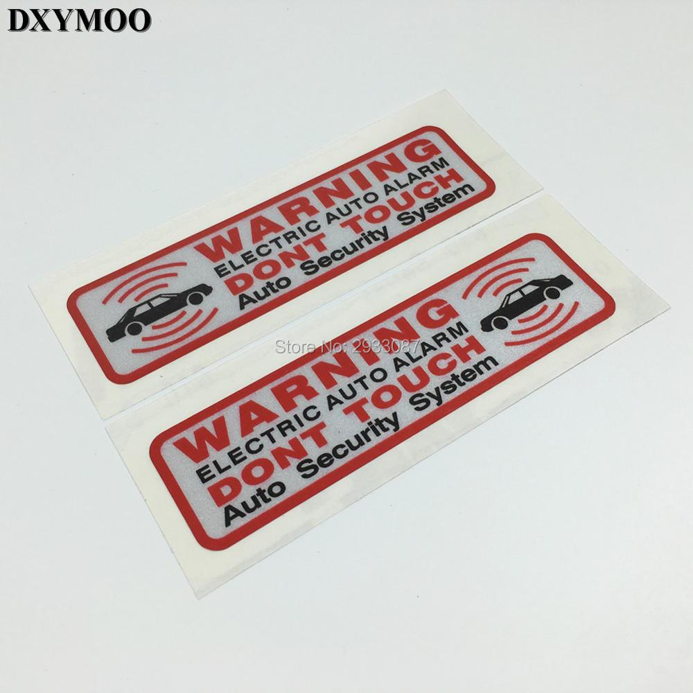warning electric auto alarm dont touch security system car stickers motorcycle fish tank sticker. Black Bedroom Furniture Sets. Home Design Ideas