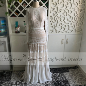 Image 2 - Mryarce שיק שמלות כלה ייחודי תחרה מקסים פולקה נקודות ארוך שרוול כלה בוהמית כלה שמלות