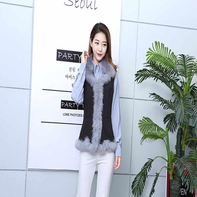 100% чистого меха лисы квадратный жилет женский Весна и осень и зима новый корейский версия самосовершенствование жилетка без рукавов ves