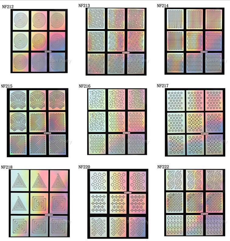 ed4fd4ee937ef 9 Dicas Folha de Laser Padrão Estrela Rodada Triângulo Prego Vinis Stencils  Arte Do Prego Adesivos Moda Holo Unhas Adesivos NF201-NF224