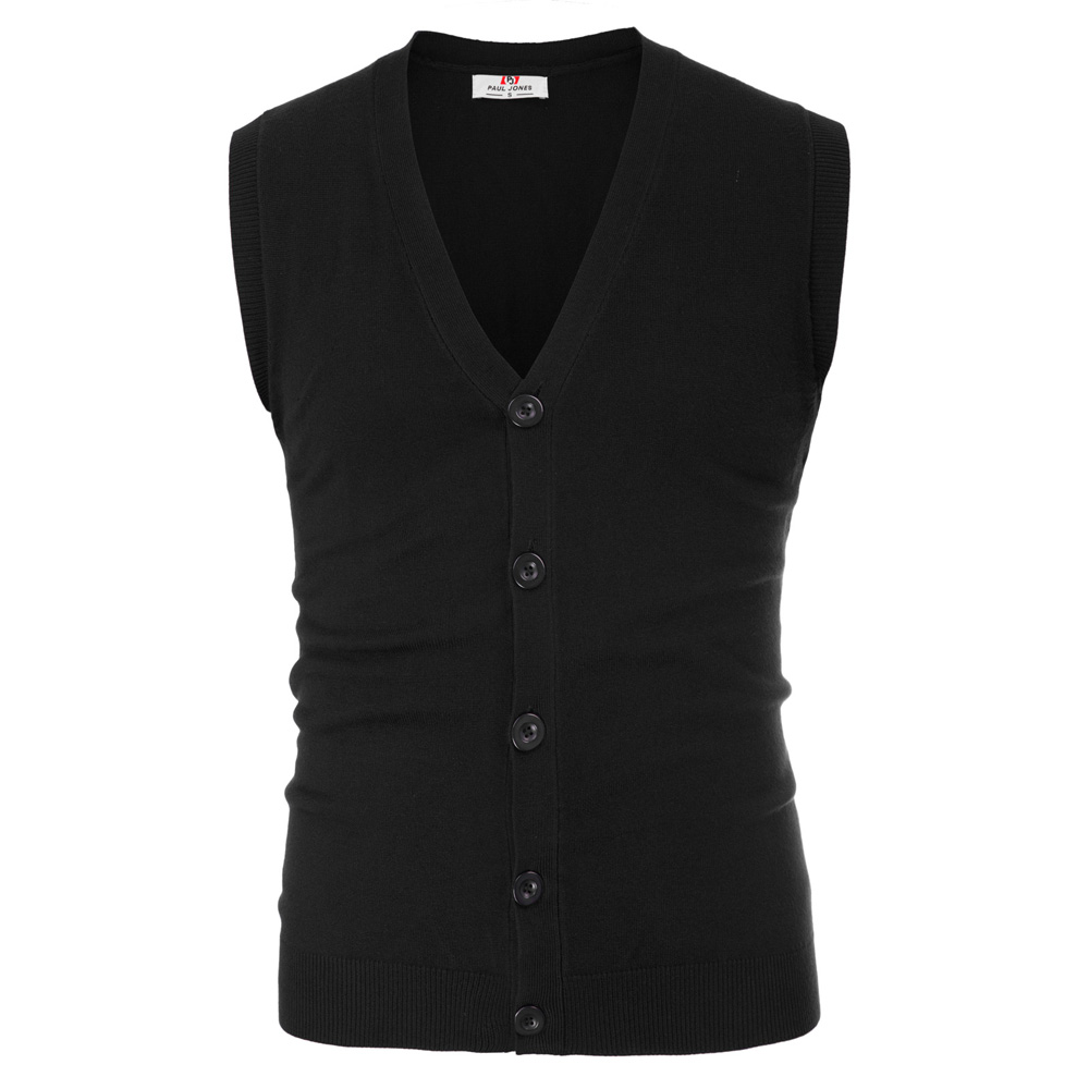 PJ Mens Vest Formal Business Sleeveless V-Neck Button Knitting Cut-off Knitwear Coat Single Breasted Male Tops
