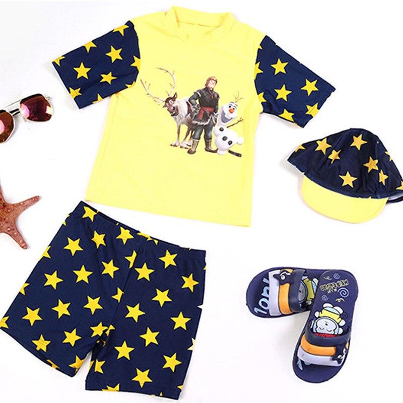 ФОТО hot boys swimsuit 2016 summer kids swimming suit two-pieces cute cartoon boys swimwear children bathing suit baby beach wear