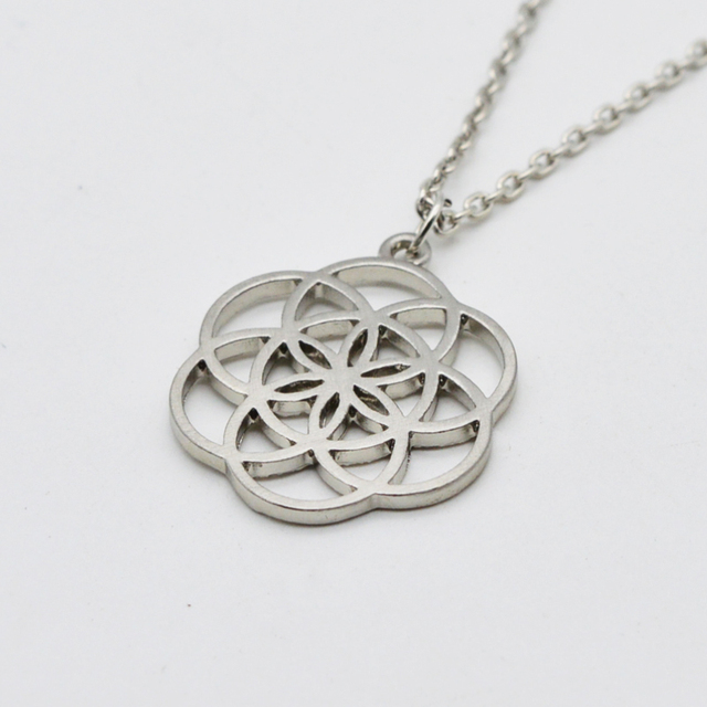 10pc silver mandala necklace seed of life flower of life pendant 10pc silver mandala necklace seed of life flower of life pendant kabbalah sacred geometry nekclace for mozeypictures Gallery
