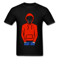 Print Hooded Gas Mask Man Male T-shirt Short Sleeve Team Custom Company Fashion Top Clothing Cartoon Images