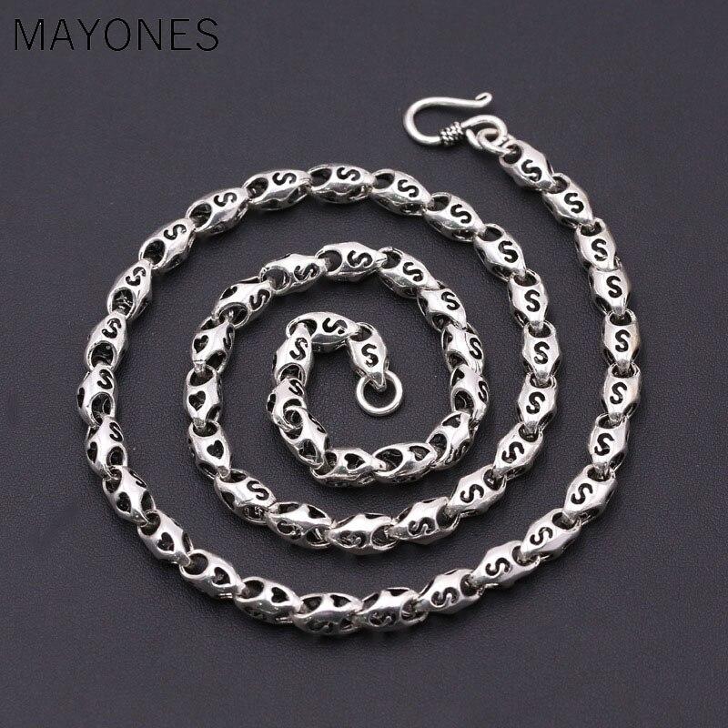 6.5mm épaisseur lettre S collier 100% 925 bijoux en argent Sterling hommes femmes amour coeur creux bambou corde chaîne collier pendentif