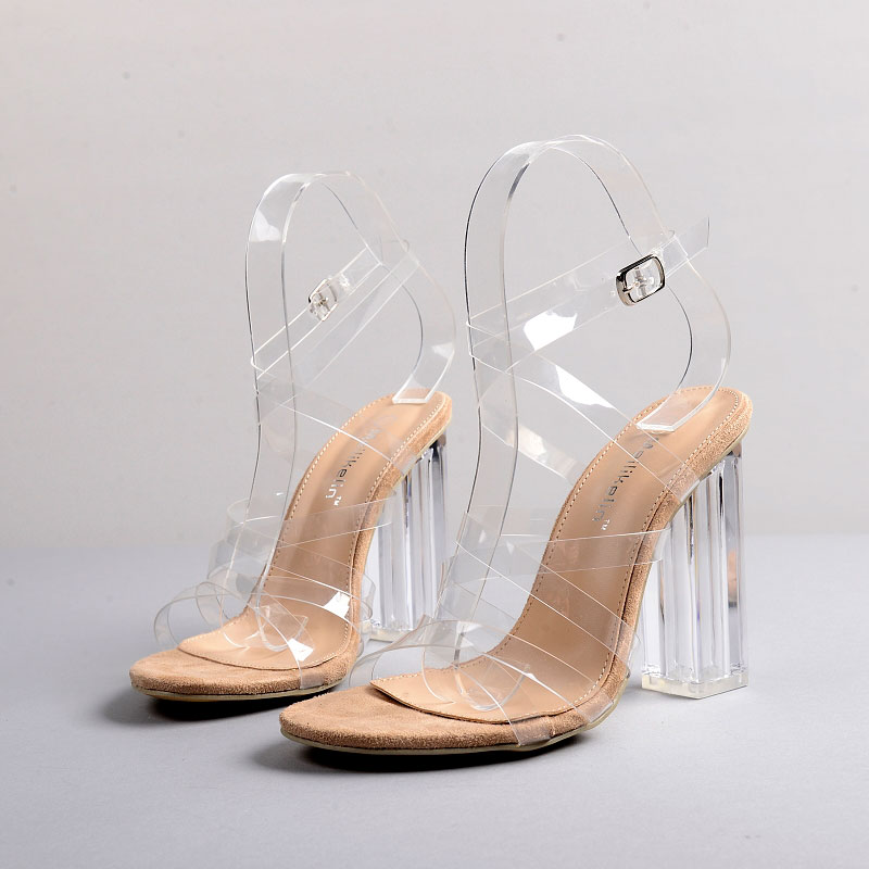 ФОТО 2017 Summer Sexy Girl Transparency PVC Jelly Shoes Cross Tied Buckle Strap Crystal High Heels Ladies Sandals Woman Wedding Shoes