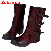 Zobairou Hot sale black brown red genuine leather cowboy boots flat rain boots buckle strap zip botas mujer shoes woman