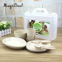 MagiDeal 24Pcs 4 Mugs 4 Soup Bowls 4 Spoons 4 Forks 8 Plates Food Grade Reusable