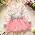 2015 nuevo otoño vestido del patrón lindo del conejo del bebé del partido del bebé niña vestido de flores niños ropa de manga larga