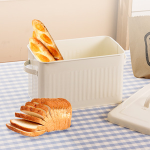 Image 1 - 8L גדול מתכת לחם קופסא עם מכסה אבק הוכחה מקרה קרם לבן רטרו אחסון סל מטבח מזון מיכל ארגונית אחסון תיבה