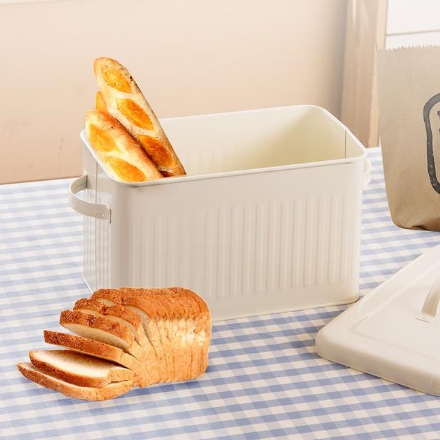 8L גדול מתכת לחם קופסא עם מכסה אבק הוכחה מקרה קרם לבן רטרו אחסון סל מטבח מזון מיכל ארגונית אחסון תיבה
