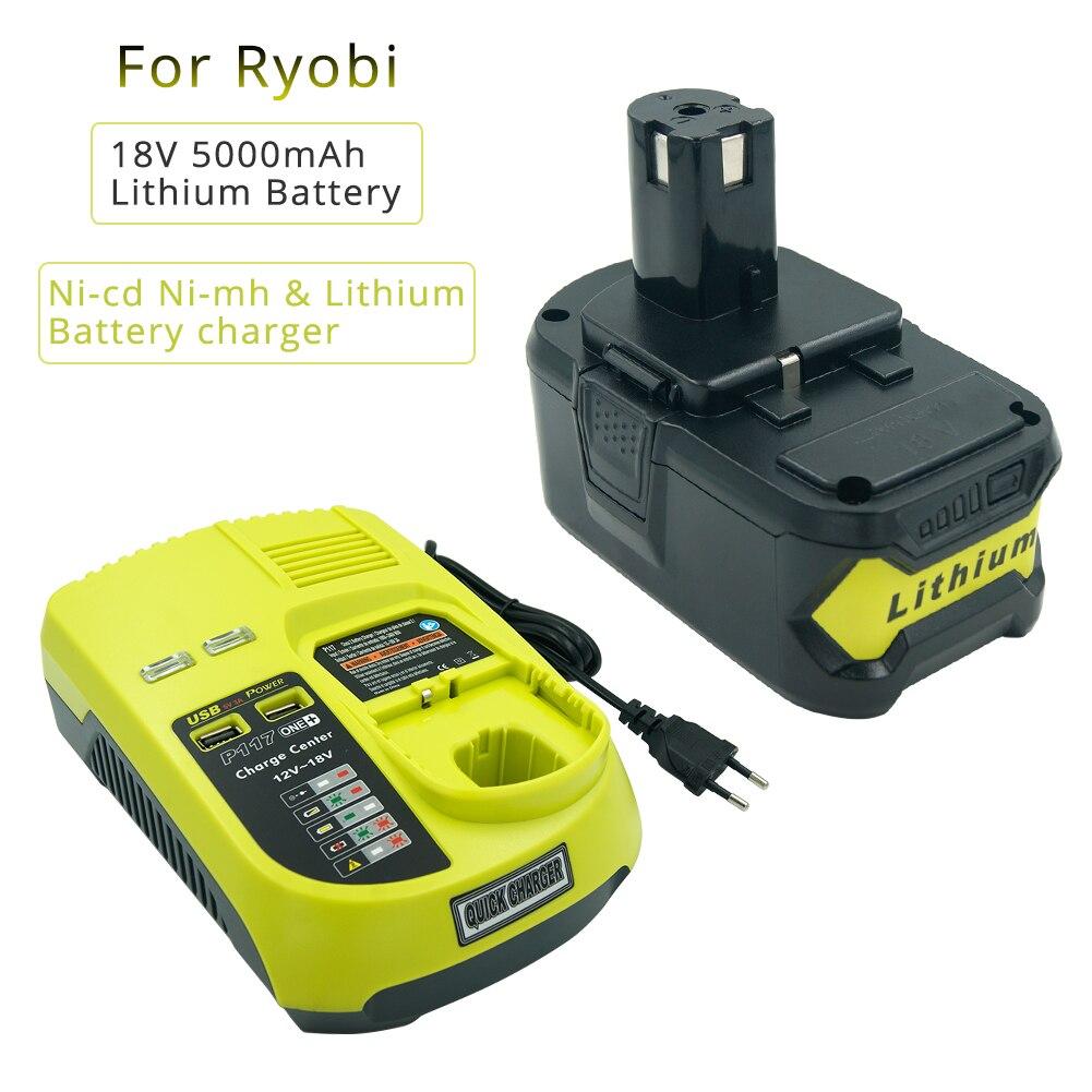 Set of 18V 5000mAH Li-ion RB18L50 Rechargeable Battery for Ryobi one plus  P108 + New P117 Charger for Ryobi 9 6V-18V EU Plug