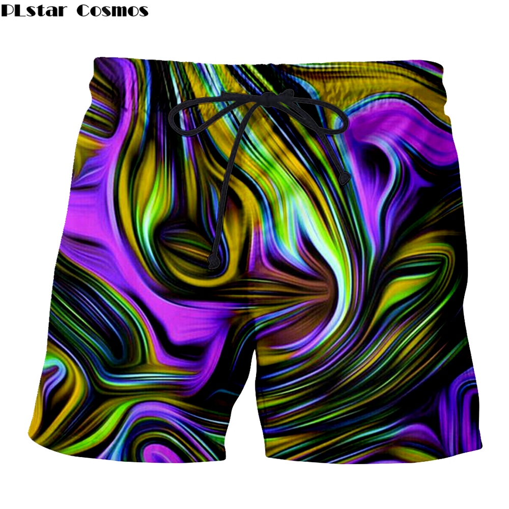 Mens Clothing Summer Beach Wear Casual Shorts 3D Print Neon Light Trippy Mystic Art Gothic Hawaii Beach Hip Hop Mens Short Pants