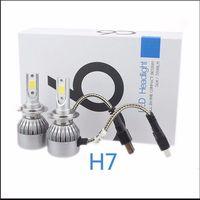 2PCS Headlight Bulbs C6 H7 COB Chip Car Led H7 72W 7600LM Auto 9V 36V Car