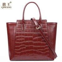 Qiwang Аутентичные брендовые красивые женские из натуральной кожи сумки моды мать сумки Для женщин Новый год Винтаж мешок вина