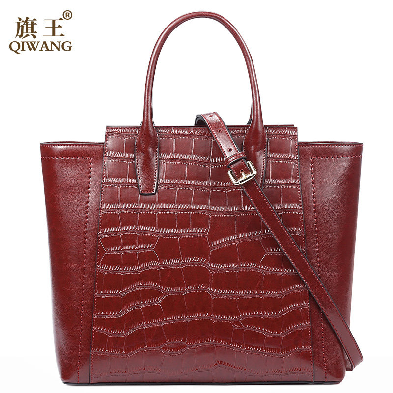 Qiwang Authentic Brand Beautiful Lady Genuine Leahter Handbag Fashion Mother Bags Women New Year Vintage Bag Wine geparlys beautiful lady