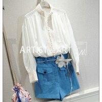 Svoryxiu индивидуальный заказ Летняя блузка рубашка Для женщин Роскошные Руководство Однобортный простые свободные белый конопли блузки руба