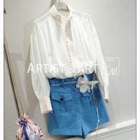 Svoryxiu индивидуальный заказ летняя блузка рубашка женская Роскошные Руководство однобортный простой свободные белые конопли блузки