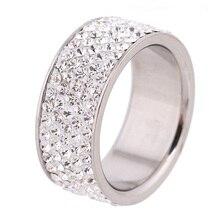 Строк прозрачного хрусталя обручальные кольца нержавеющей стали изделия ювелирные из