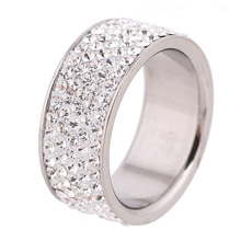 Row Lines Clear Crystal Jewelry Fashion Stainless Steel Engagement Rings