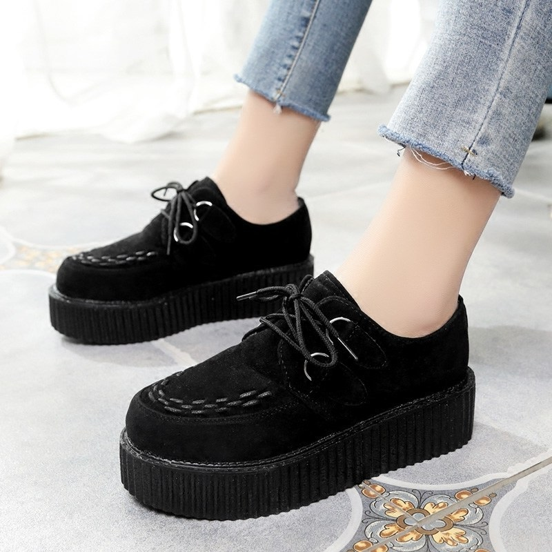 Creepers Platform Shoes Women Flats Shoes Lace Up Creepers Suede Black Ladies Shoes Обувь