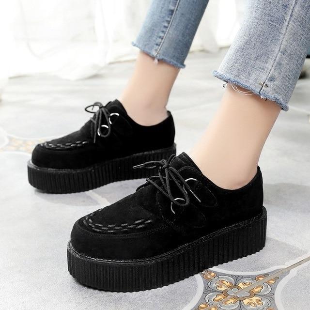 7b70ff69c010 LAKESHI Women Creepers Shoes Flat Platform Shoes Woman Fashion Round Toe  Casual Flat Shoes Lace-