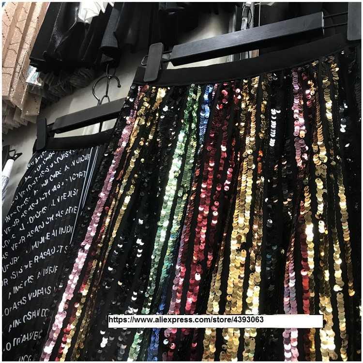 70e42b8cbe Sequin Bling Bling Half Skirt Rainbow Pleated Elastic Waist Skirts Runway  Glitter Shine Hologram Women
