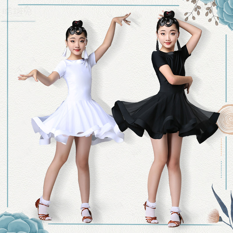 2019 New Girls Latin Dance Net Yarn Dress Children's Chacha Rumba Samba Tango Performance Apparel Competition Summer DQT1074