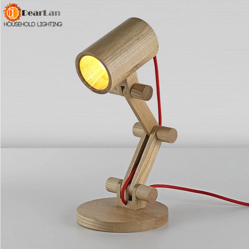 ФОТО Wood Read Table Lamp Modern Simple Fold style wood desk lamp for Bedroom study room,cloth lampshade Wooden table Lamp Rob(TA-50)