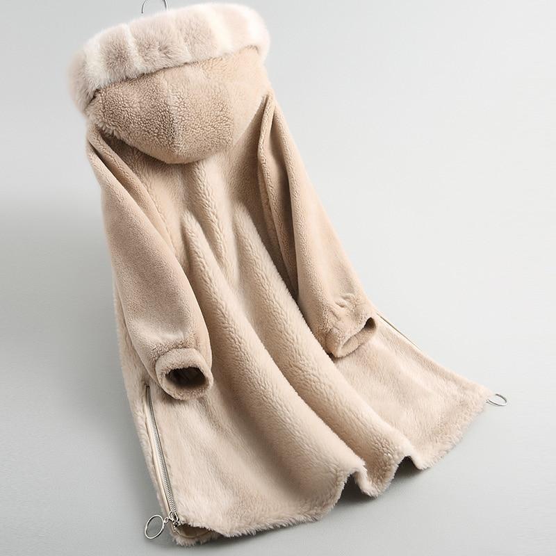 Camel Automne Veste Vestes De Réel Abrigo Manteau Femmes Vintage Hiver Pardessus Coréenne Mujer Col My851 Rice Renard Fourrure Laine 100 0Hf0wPq