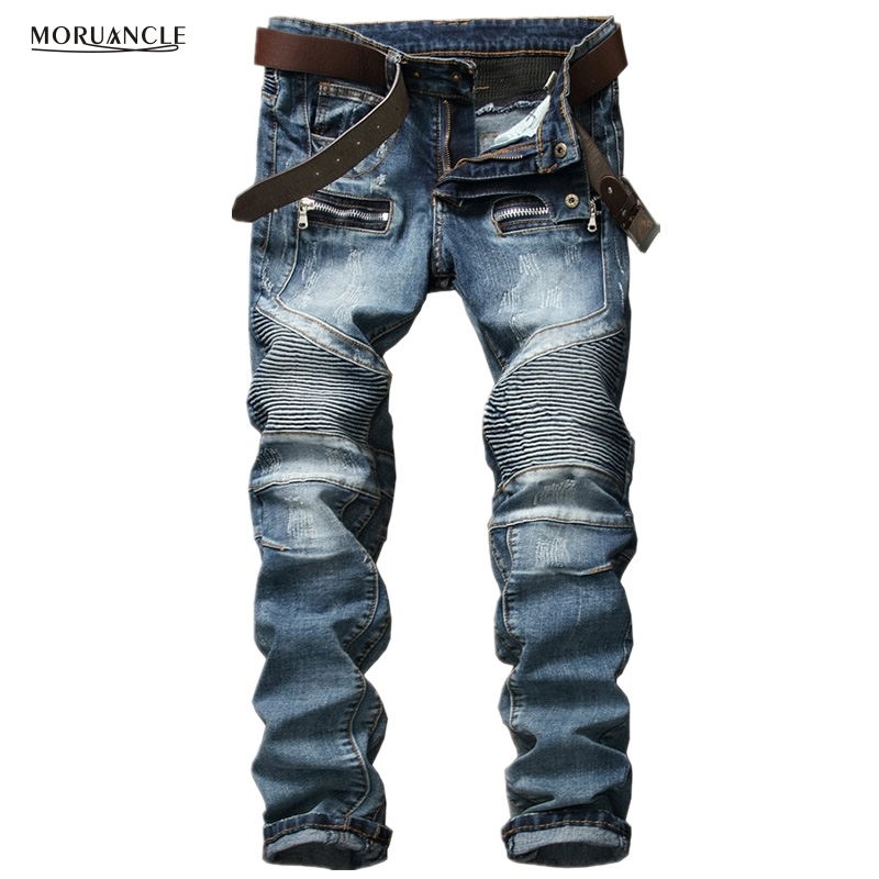 Brand Designer Men Biker Jeans Fashion Straight Motorcycle Denim Joggers Multi Zipper Pleated Slim Fit Pants