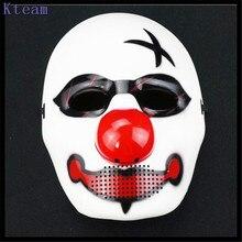 Бесплатная доставка Хэллоуин Косплэй Джокер Маска Клоуна Костюм Маска Жуткий зло страшно Хэллоуин маска клоуна Payday 2 свободный размер