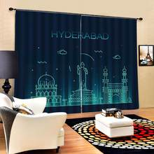 blue curtains for bedroom 3D Curtain Luxury Blackout Window Curtain Living Room Blackout curtain(China)