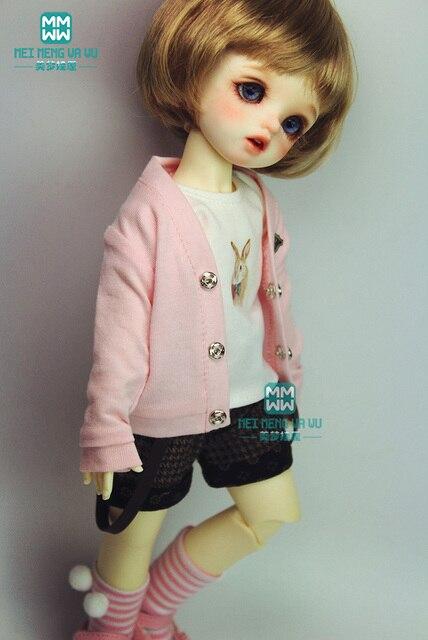 BJD phụ kiện búp bê quần áo phù hợp với 27 cm-30 cm 1/6 BJD búp bê sinh viên thời trang phù hợp với màu hồng cardigan T-Shirt ngắn vớ váy
