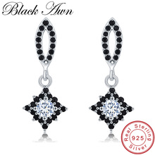 [BLACK AWN] Pure Sterling Silver 925 Jewelry Black Spinel Wedding Drop Earrings for Women Fine Jewelry T209