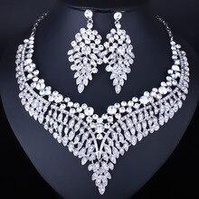 FARLENA Joyería de Lujo Plateado Plata Cristalina Clara Pendientes Del Collar para Las Mujeres de La joyería Romántica Boda