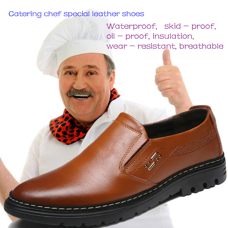 Especiales Baño Brown amarillo Chef Casuales Los Cocina negro Hombres De Zapatos  Papá Edad Mediana Cuero Primavera OwOqZ7nBr f1632846f3f