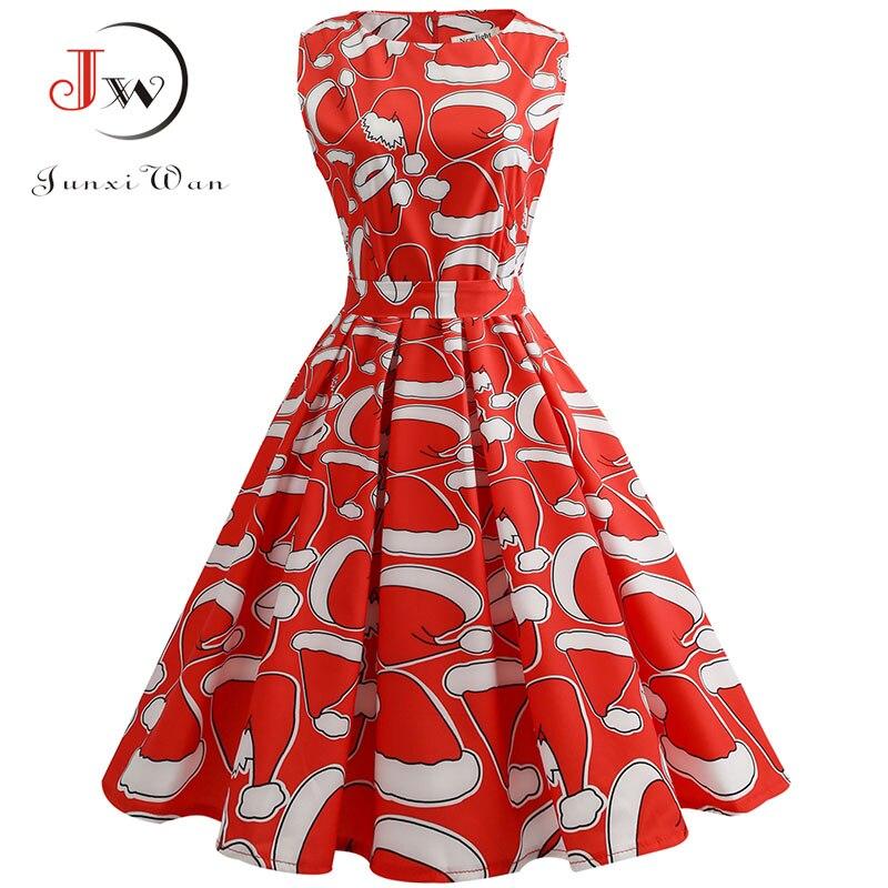 S~3xl Christmas Dress Women Floral Print Slim Vintage Dress Casual Sleeveless Elegant Midi Party Dresses Vestidos Robe #2