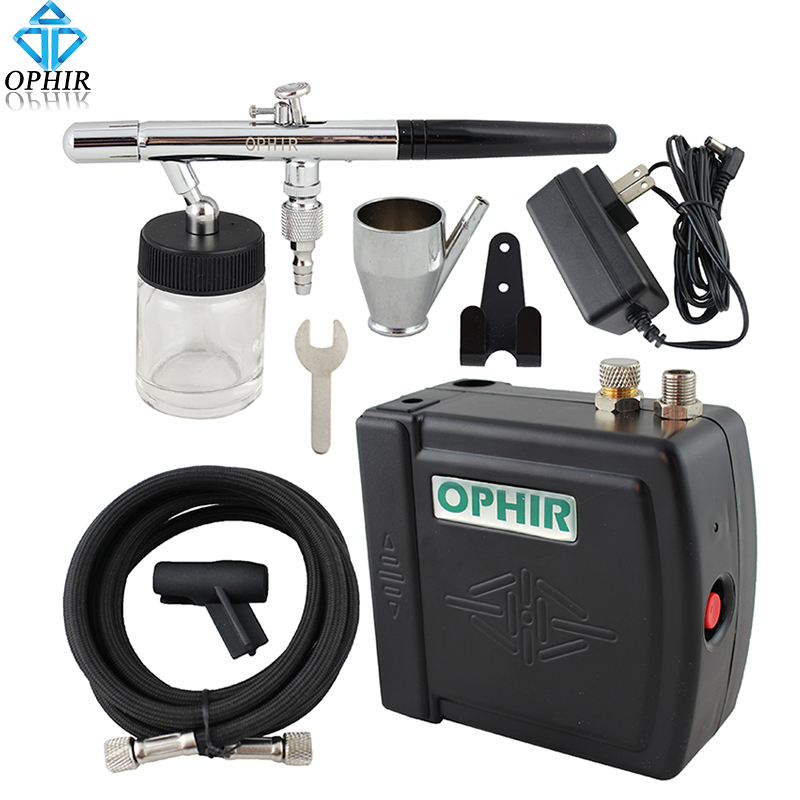 OPHIR 0.35mm Dual-Action Airbrush Kit with Mini Airbrush Compressor for Cake Decoration Airbrushing Model Hobby Paint_AC003B+072 ophir 0 3mm dual action airbrush kit with air compressor