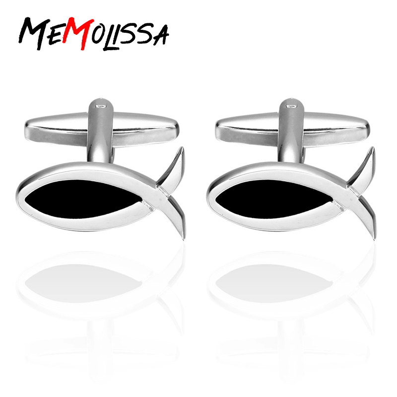 c882e51e0b0d Memolissa Luxury Brand Black Fish Shirt Cufflinks for Mens Gift Brand Cuff  Buttons Cuff link High Quality Abotoaduras Jewelry