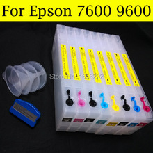 High Capacity refill ink cartridge for epson 7600/9600 cartridge C13T544100-C13T544800 for Epson printer 9600 dye/pigment good cartridge for epson 9600 7600 printer with t5441 t544 544 ink cartridge and chip resetter