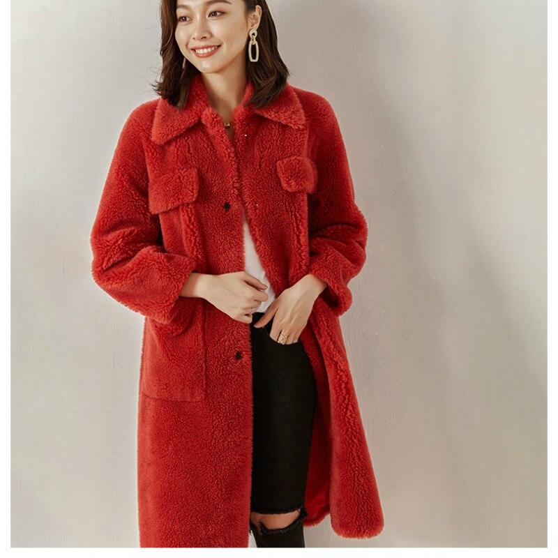Manteau Manteaux Hiver Laine Réel De Coréenne Automne Vintage Moutons En 100 Mouton Peau Veste Vêtements Longs Zt1338 Femmes Red Rouge 2018 Fourrure dwUqqI
