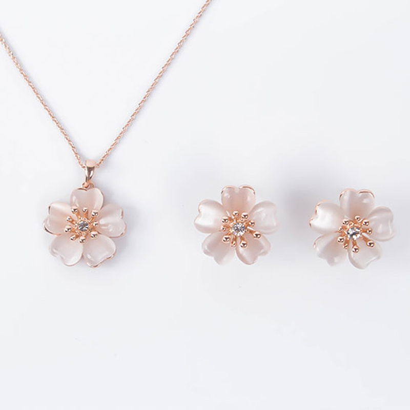 Women Jewelry Set Party Prom Flower Design Pendant Necklace With Stud Earrings