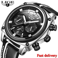 New Montre Homme 2019 LIGE Mens Watches Top Brand Luxury Military Sport Watch Men Leather Waterproof Clock Quartz Wristwatch+Box