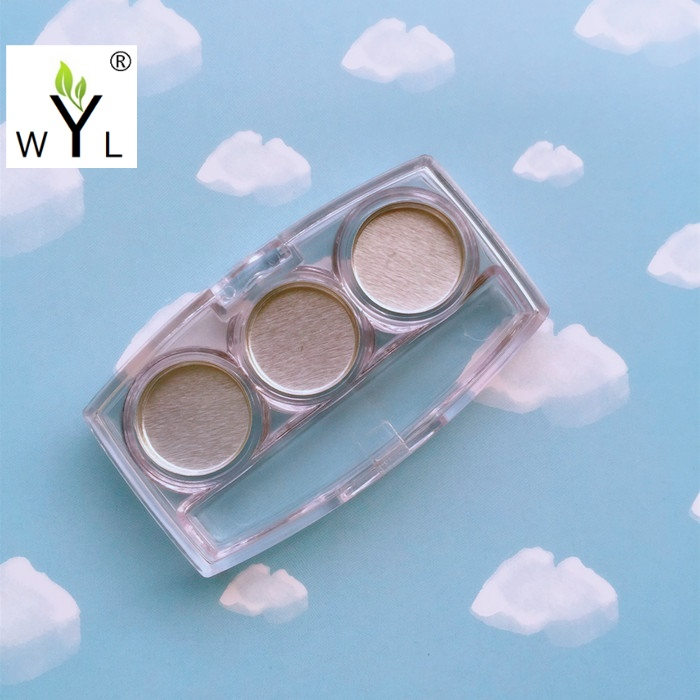 Empty clear Eye shadow case 3 Pans makeup compact mini Eyeshadow Palette Case with 3 compartments