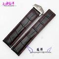 20mm 22mm Mens Black Red Stitching Black Alligator Pattern Genuine Leather Watch Bands Strap Bracelets
