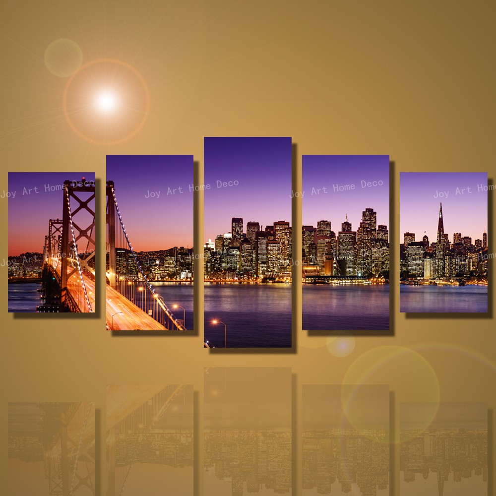5 Panels San Francisco Bay Bridge Canvas Wall Art Print On Canvas Home  Decoration Canvas Print Modern Painting Gifts Unframed In Painting U0026  Calligraphy From ...